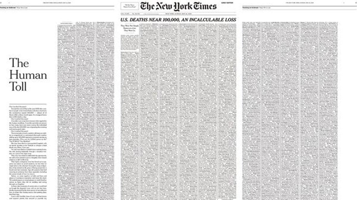 اخبار-آمریکا-لیست-هزار-قربانی-کرونای-آمریکا-صفحه-اول-روزنامه-نیویورک-تایمز-را-پُر-کرد